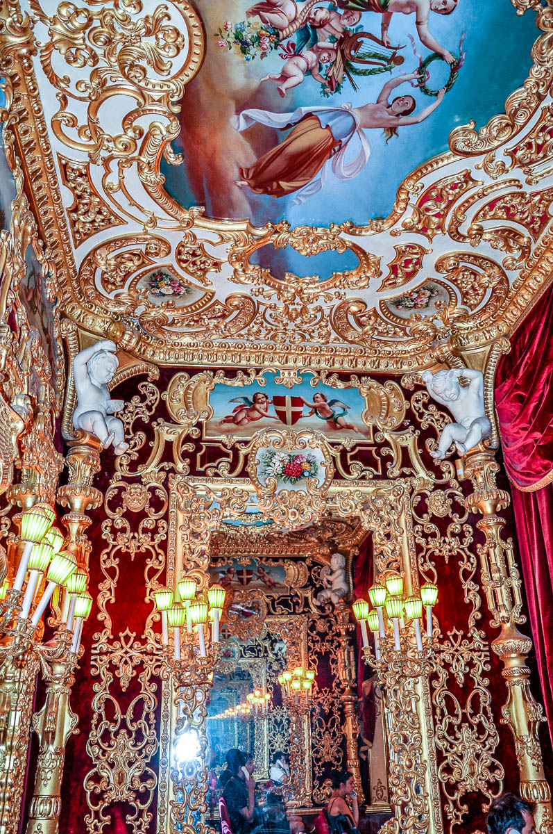 The lavish decoration inside the Imperial Box - La Fenice Opera House in Venice, Italy - www.rossiwrites.com
