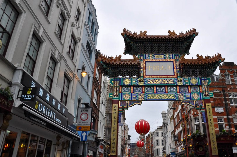 The brand new (fourth) Chinatown gate on Wardour Street, Chinatown, London, England