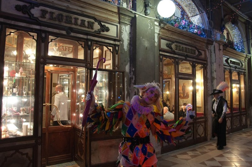 Cafe Florian and a Harlequin - Venice, Italy - www.rossiwrites.com