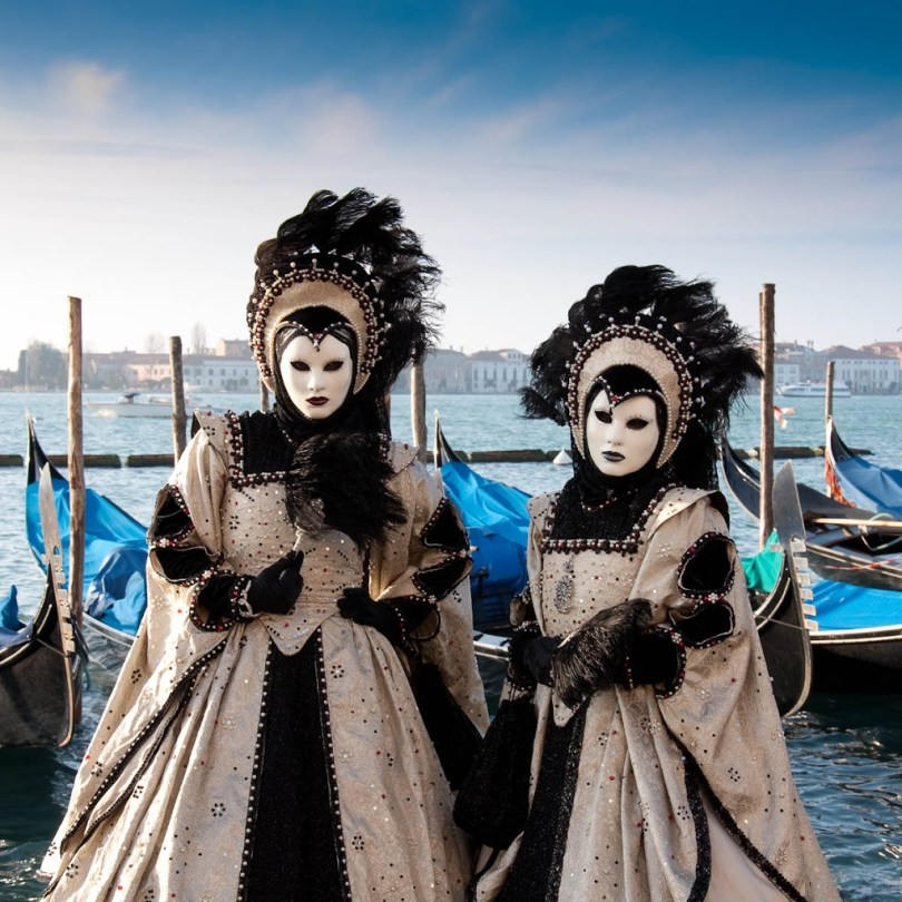 Masks with gondolas - Venetian Carnival 2011 - Venice, Italy - www.rossiwrites.com