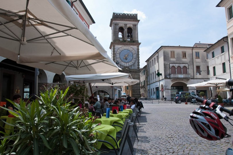 Este High Street with the Clocktower gate, Este, Veneto, Italy