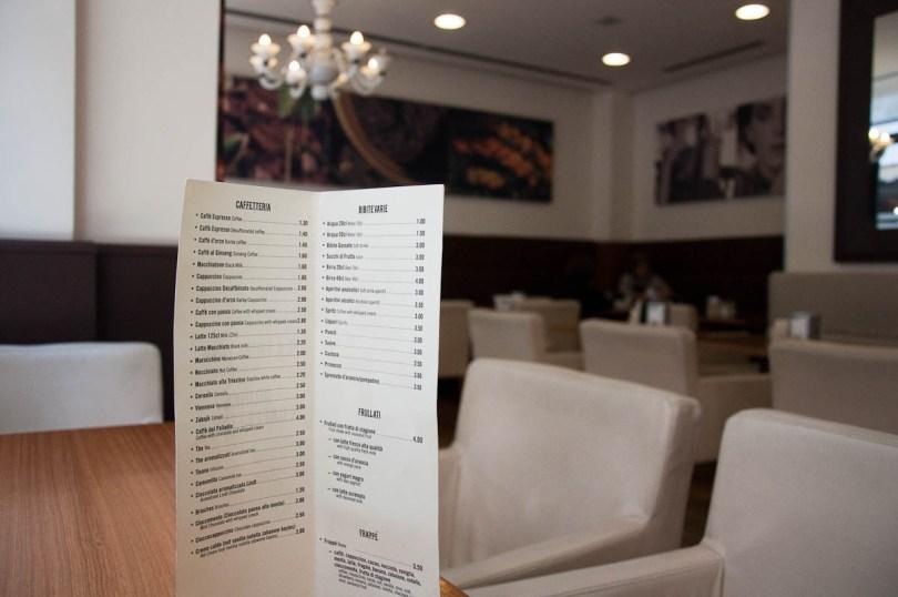 Coffee menu in Italian - Vicenza, Italy - rossiwrites.com