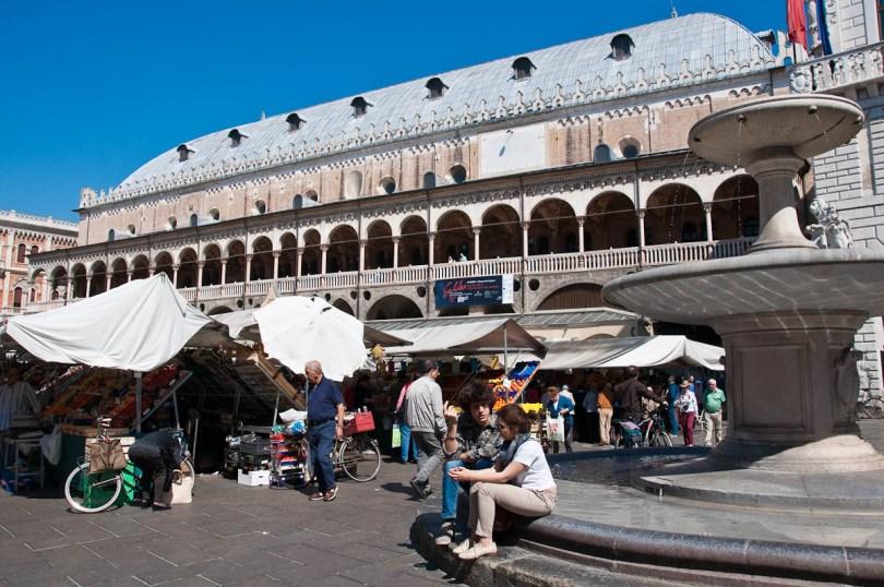 The Marketplace with Palazzo della Ragione, Piazza delle Erbe, Padua, Italy - www.rossiwrites.com
