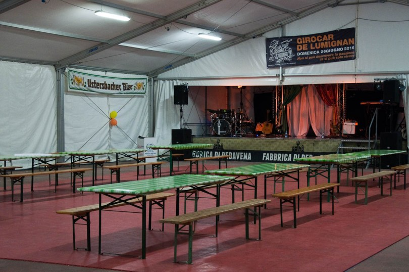 The marquee for the live entertainment, Pea Festival, Sagra dei Bisi, Lumignano, Veneto, Italy - www.rossiwrites.com