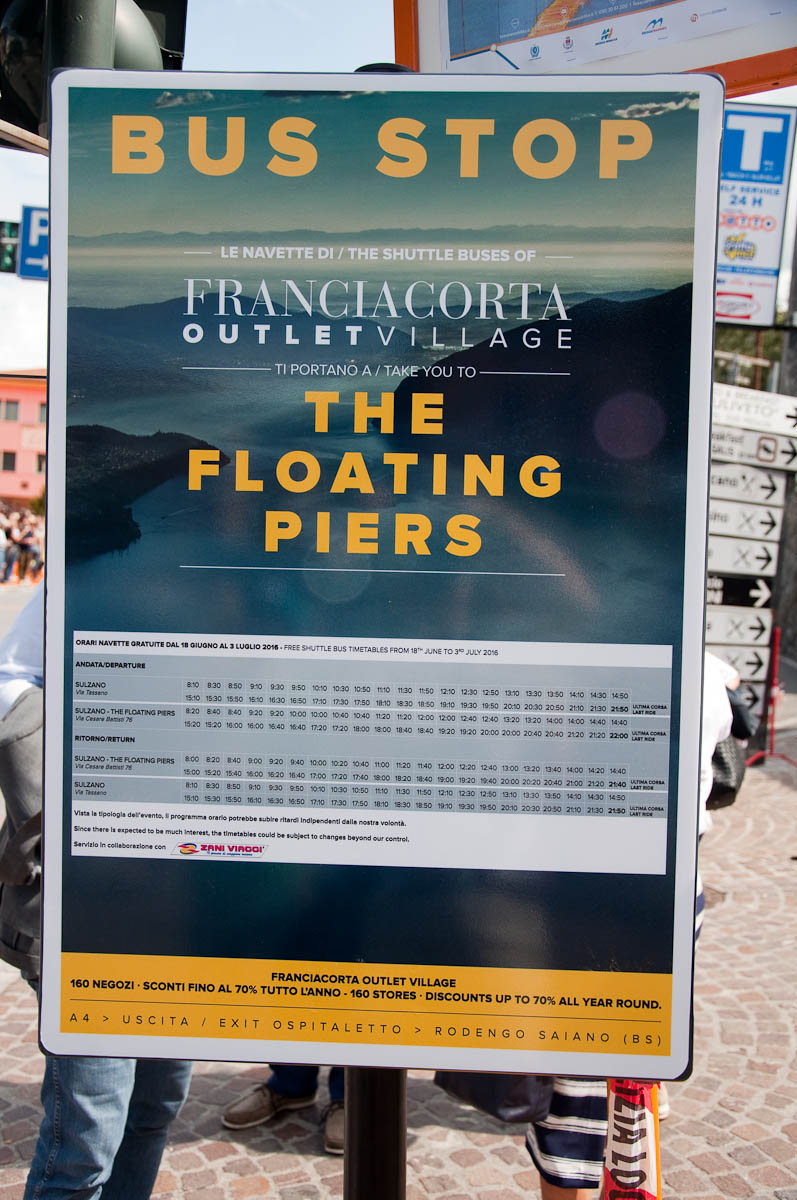 Christo's The Floating Piers, The bus table, Lago Iseo, Italy - www.rossiwrites.com