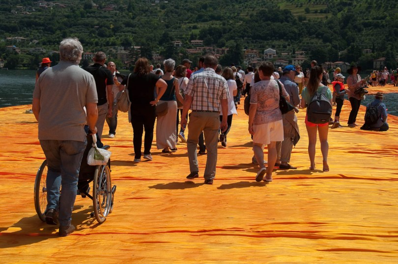 Christo's The Floating Piers, The orange walkway is accessible to all, Monte Isola, Lake Iseo, Italy - www.rossiwrites.com