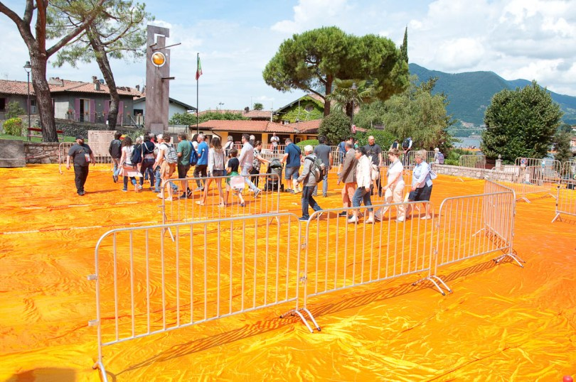 Christo's The Floating Piers, To the orange walkway, Lago Iseo, Italy - www.rossiwrites.com