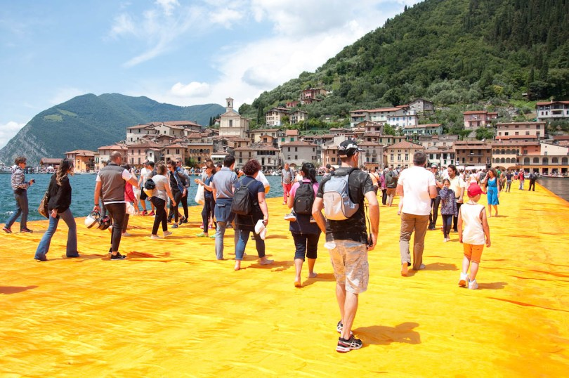 Christo's The Floating Piers, Walking on sunshine, Italy - www.rossiwrites.com