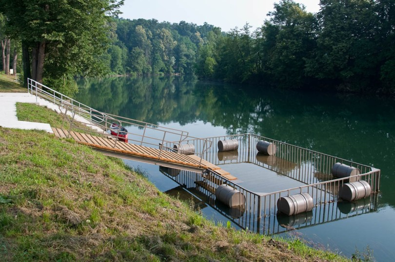 The floating pontoon on the river Kolpa, Big Berry glampsite, Bela Krajina, Slovenia - www.rossiwrites.com