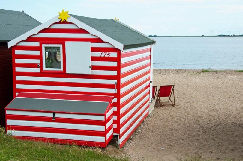 A stripy beach hut, Mersea Island, Essex, England - www.rossiwrites.com