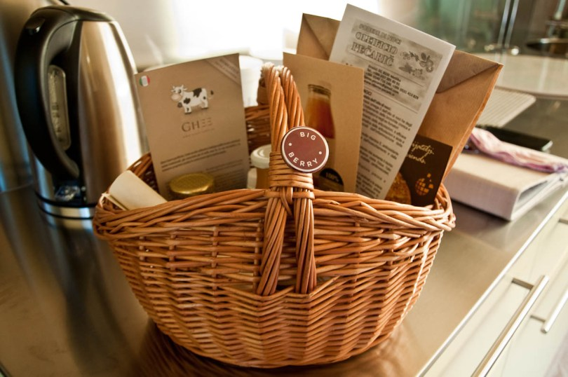 A welcome hamper, Big Berry Glampsite, Slovenia - www.rossiwrites.com