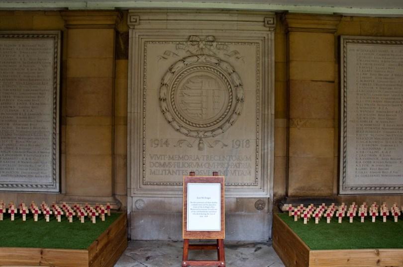 Commemorative crosses and monument, Pembroke College, Cambridge, England - www.rossiwrites.com
