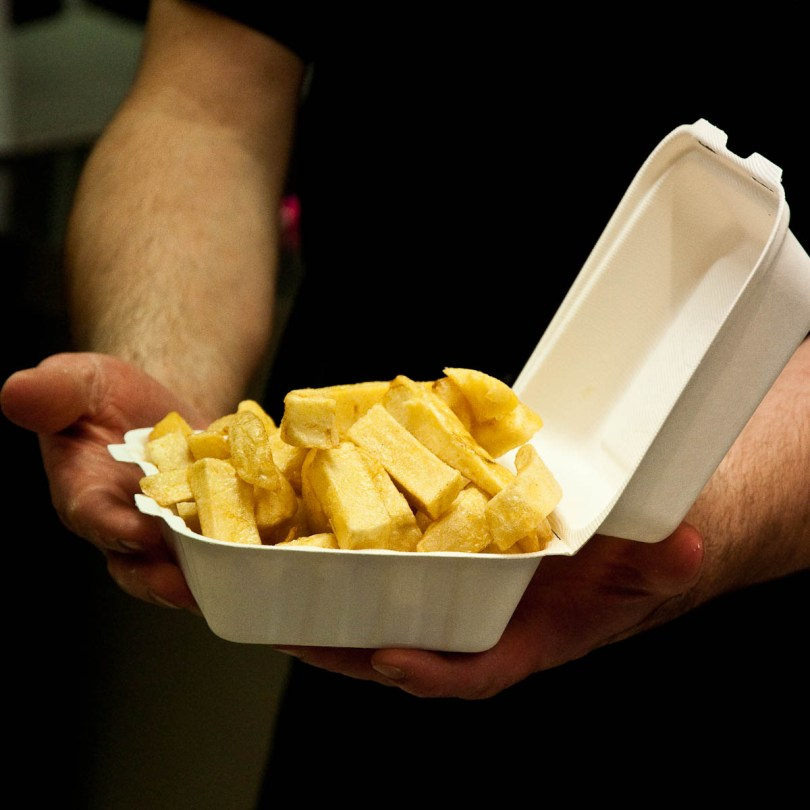 Freshly fried chips, The Master Fryer Fish and Chips Shop, St. Albans, England - www.rossiwrites.com