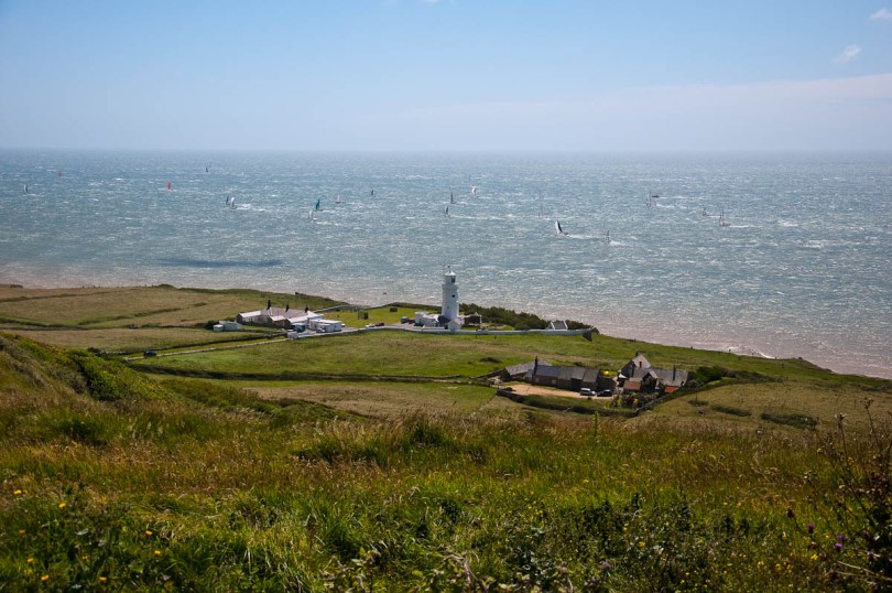 St. Catherine's lighthouse with the boats, Round the island race 2016, Isle of Wight, UK - www.rossiwrites.com