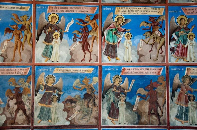 Frescoes, Rila Monastery, Bulgaria - www.rossiwrites.com