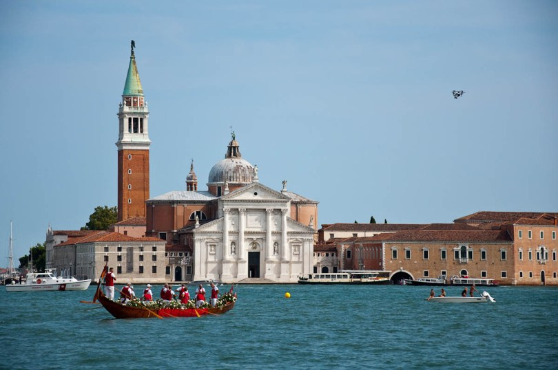 A drone filming the regatta in front of San Giorgio Maggiore, Historical Regatta, Venice, Italy - www.rossiwrites.com