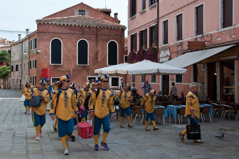 All in costume arriving at the meeting point, Arsenale, Historical Regatta, Venice, Italy - www.rossiwrites.com