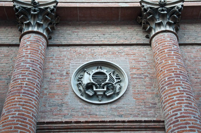 Decorative element on the wall of the town's theatre, Castelfranco Veneto, Italy - www.rossiwrites.com
