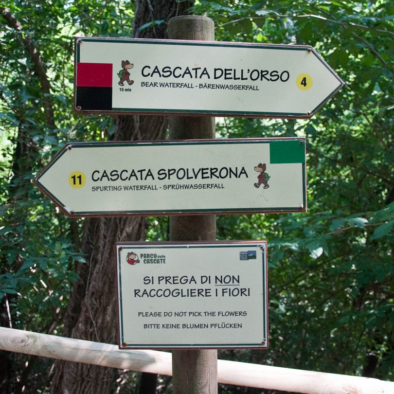 Signs, Parco delle Cascate, Province of Verona, Italy - www.rossiwrites.com