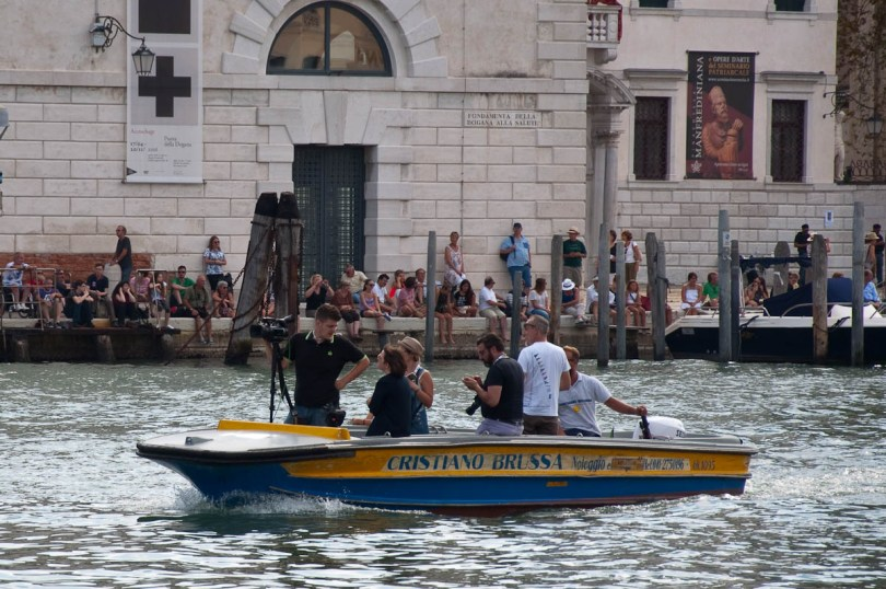 The TV and press boat, Historical Regatta, Venice, Italy - www.rossiwrites.com