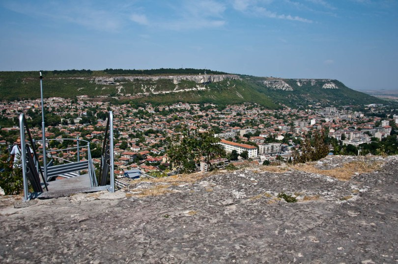 The top of the spiral staircase and the town of Provadia seen from the Ovech Fortress, Provadia, Bulgaria - www.rossiwrites.com