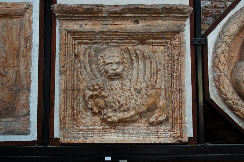 A stone bas-relief with the lion of Veneto - Naval History Museum, Venice, Italy - www.rossiwrites.com