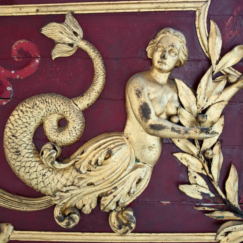 Gold-leaf mermaid, Royal Barge - Naval History Museum, Venice, Italy - www.rossiwrites.com