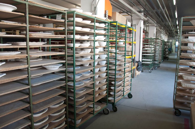 Ceramic bowls and plates ready for firing - Nove, Veneto, Italy - www.rossiwrites.com