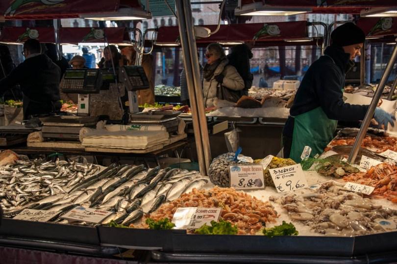A fishmonger's stall - Rialto Fish Market, Venice, Italy - www.rossiwrites.com