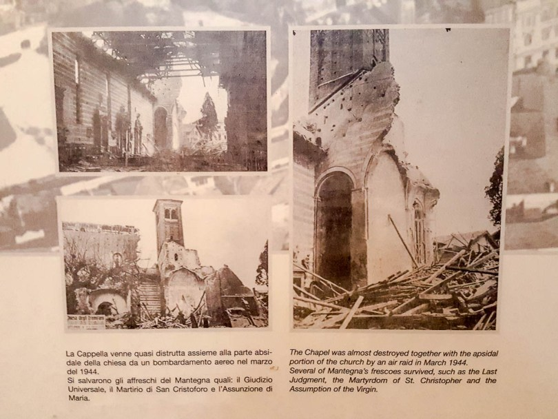An information panel showing the destruction of the Church of the Eremitani - Padua, Italy - www.rossiwrites.com