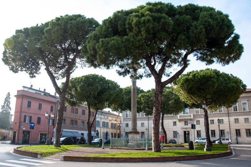 A small square with stone pines - Ravenna, Emilia Romagna, Italy - www.rossiwrites.com