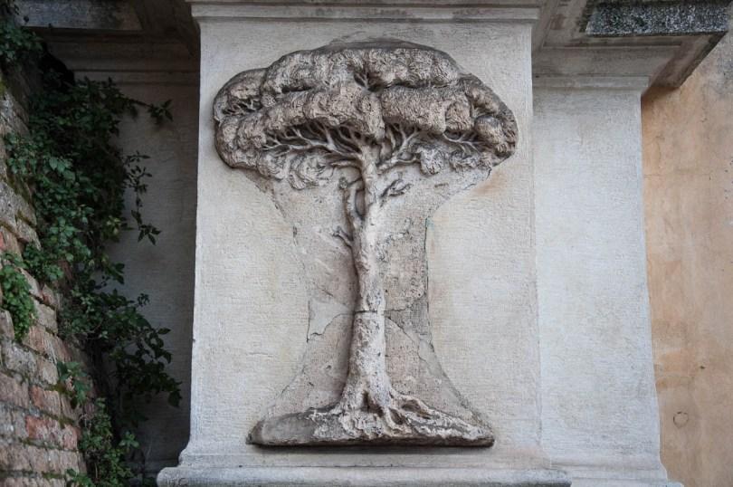 A stone pine bas-relief - The Porta Adrians - Ravenna, Emilia Romagna, Italy - www.rossiwrites.com