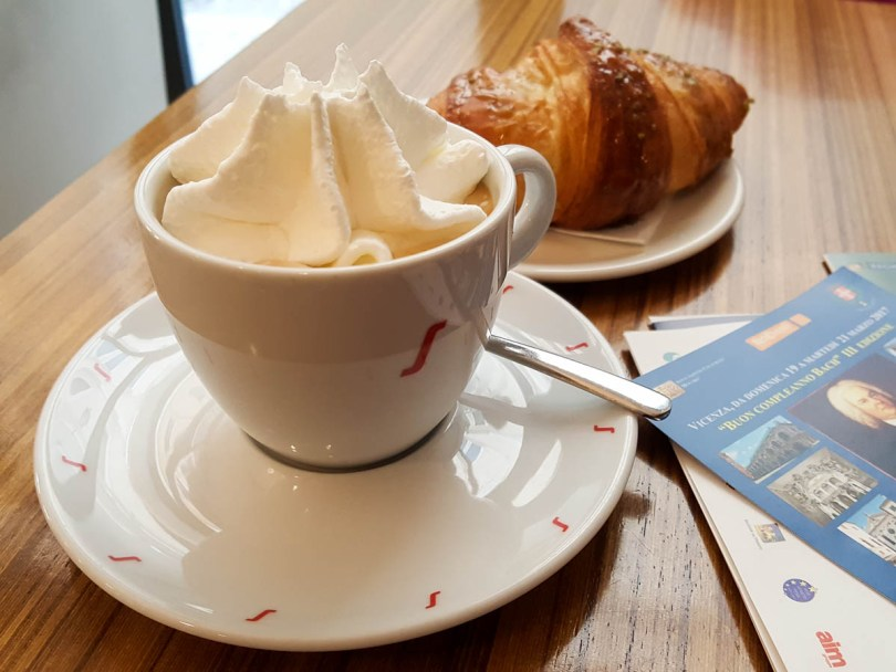Coffee with whipped cream and brioche - Vicenza, Veneto, Italy - www.rossiwrites.com