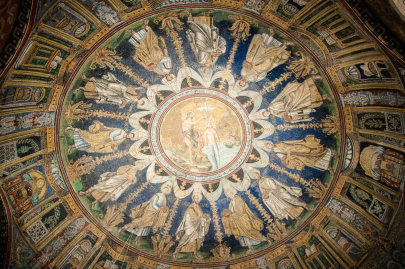 John the Baptist baptizing Jesus and the 12 Apostles - Mosaics, The Orthodox Baptistery of Neon - Ravenna, Emilia Romagna, Italy - www.rossiwrites.com