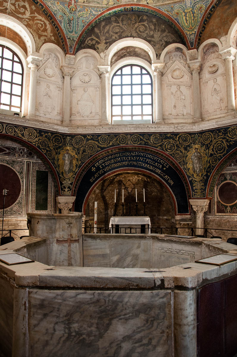 The baptismal font - Mosaics, The Orthodox Baptistery of Neon - Ravenna, Emilia Romagna, Italy - www.rossiwrites.com