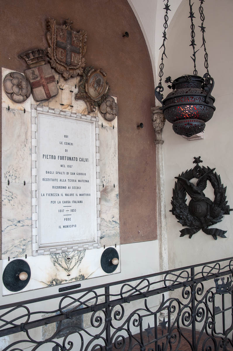 The memorial containing the ashes of Pietro Fortunato Calvi in loggia of the 19-th century Palazzo della Loggia - Noale, Veneto, Italy - www.rossiwrites.com