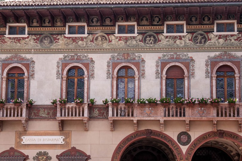 The richly frescoed building of the local Cassa di Risparmio - Rovereto, Trentino, Italy - www.rossiwrites.com