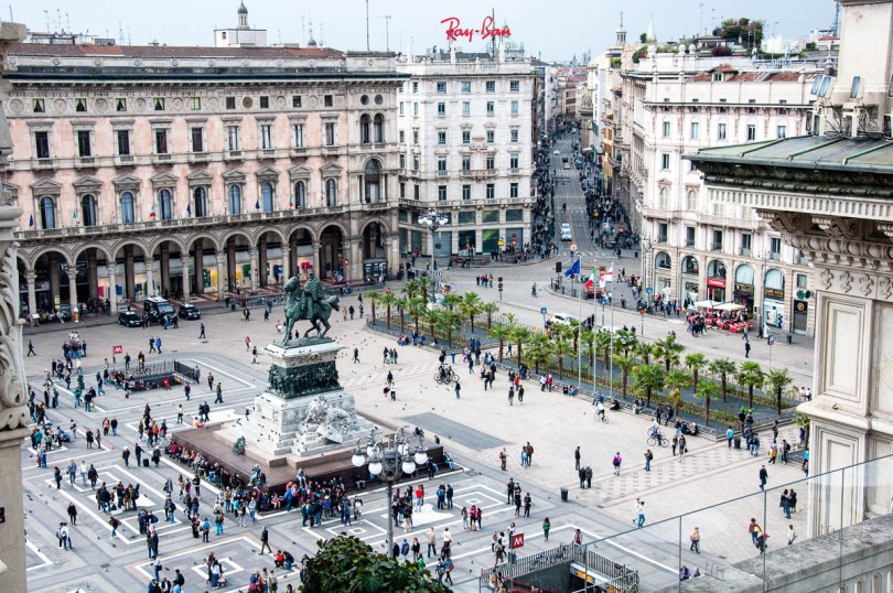 Cathedral Square seen from above - Galleria Vittorio Emanuele II, Milan, Italy - www.rossiwrites.com