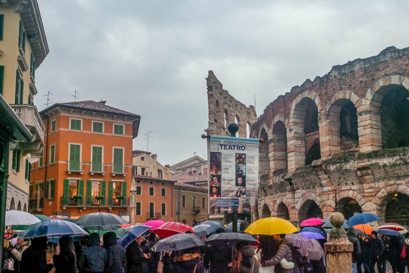 A very rainy day in Verona, Veneto, Italy - www.rossiwrites.com