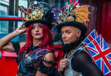 Emy Sabbatini and Gabriele Annovi in bespoke steampunk outfits - British Day Schio - Veneto, Italy - www.rossiwrites.com