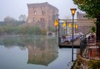 The 14th century Visconti bridge in the fog - Borghetto, Valeggio sul Mincio, Veneto, Italy - www.rossiwrites.com