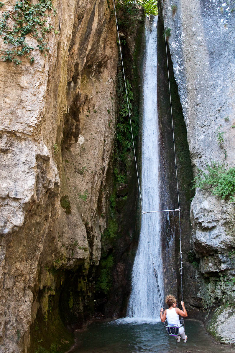 Gushing Waterfall with a swing, Parco delle Cascate, Province of Verona, Italy - www.rossiwrites.com