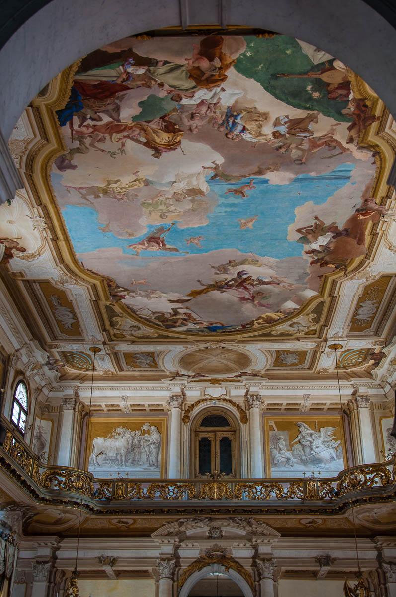 The ceiling of the ballroom with Giambatista Tiepolo's fresco - Villa Pisani, Stra, Veneto, Italy - www.rossiwrites.com