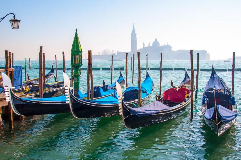 Gondolas and the island of San Giorgio Maggiore - Venice, Veneto, Italy - www.rossiwrites.com