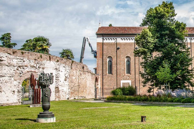 The remnants of Padua's Roman arena standing next to the city's famous Scrovegni Chapel - Padua, Italy - rossiwrites.com