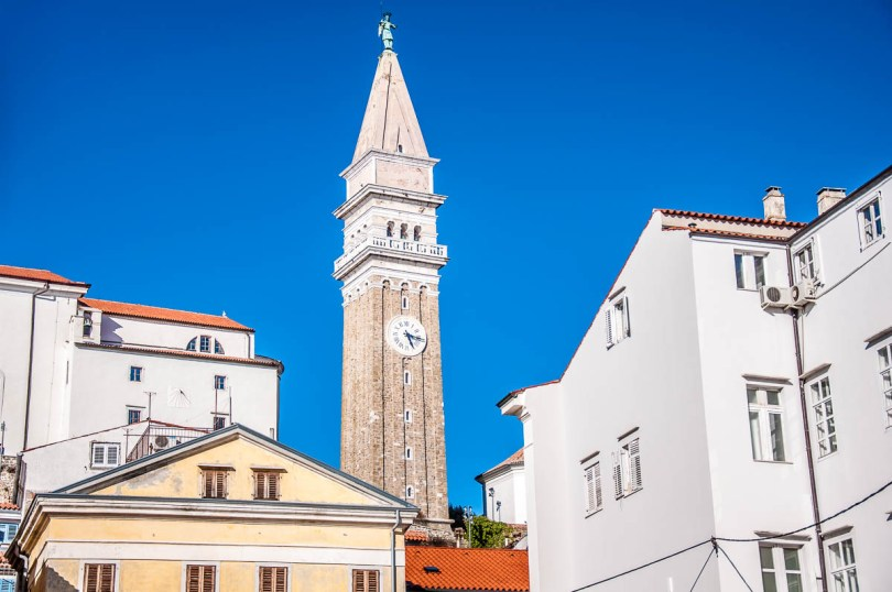 The bell tower of St. George's Church - Piran, Slovenia - www.rossiwrites.com