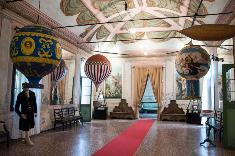 The room with the balloons, Museum of Flight - Castello di San Pelagio, Province of Padua, Veneto, Italy - www.rossiwrites.com