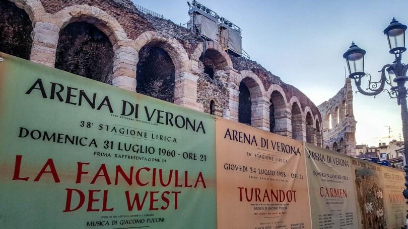 Arena di Verona with vintage opera posters - Verona Opera Festival - Veneto, Italy - www.rossiwrites.com