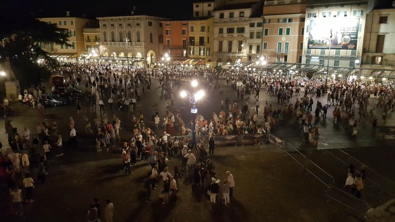 Piazza Bra after the performance - Verona Opera Festival - Veneto, Italy - www.rossiwrites.com