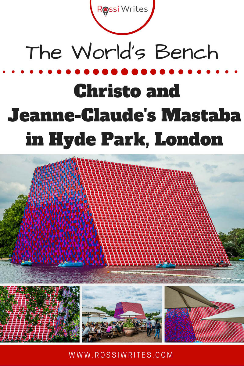 The London Mastaba is a 600-ton structure of colourful barrels by the world-renowned artists Christo and Jeanne-Claude in Hyde Park. Click for photos and info. #travel #art